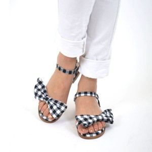 Women's Black and White  with Bow Buckle  Ankle Strap Sandals