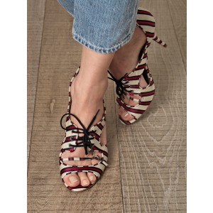 Red and Beige Stripes Lace up Heels Peep Toe Stiletto Heel Pumps