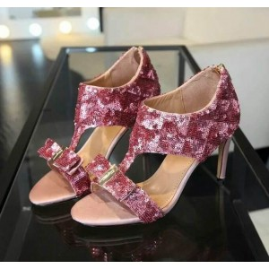Pink Sequined Bow Open Toe Stiletto Heels T-strap Sandals