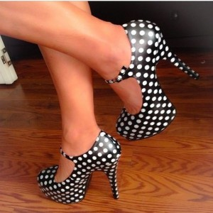 Black and White Heels Polka Dots Stiletto Heels Mary Jane Pumps