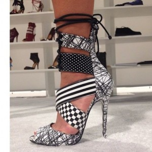 Women's Black and White Strappy Peep Toe Ankle Strap Sandals