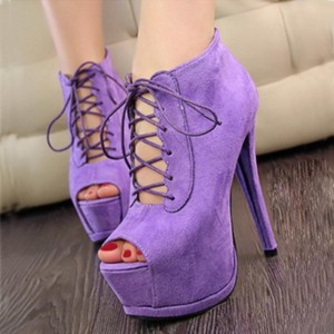 Purple Lace up Boots Peep Toe Suede Platform Ankle Boots