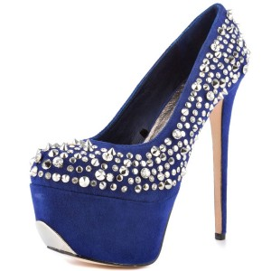 Women's Blue Rivets Stiletto Heels Pumps Platform Stripper Shoes