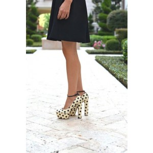 Women's Beige Polka Dot Platform Chunky Heels Pumps Shoes