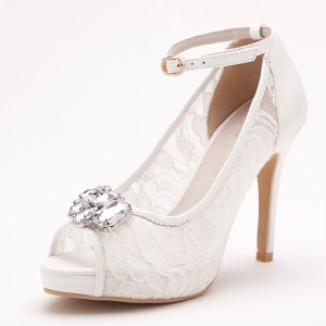 Ivory Bridal Shoes Lace Heels Peep Toe Rhinestone Ankle Strap Pumps