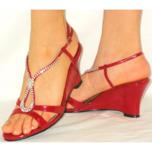 Women's Red with Rhinestone Open Toe Wedge Heel Sandals