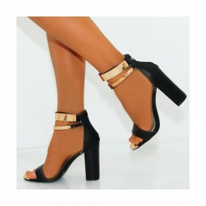 Women's Black Open Toe Chunky Heels Ankle Strap Sandals