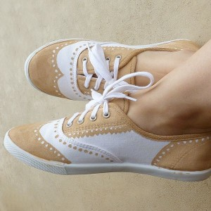 Women's Brown and White Commuting Lace Up Comfortable Flats