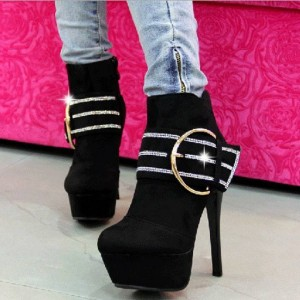 Black Fashion Boots Suede Platform High Heel Shoes with Buckle