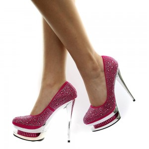 Women's Red Stiletto Heels with Rhinestone Dazing Shoes