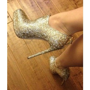 Gold Glitter Boots Closed Toe Platform Stiletto Heel Ankle Booties