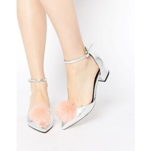 Silver Metallic Pom Pom Shoes Ankle Strap Low Heel Closed Toe Sandals