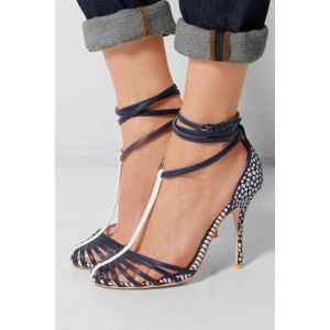 Women's Blue T-strap Stiletto  Heels Round Toe Ankle Strap Sandals