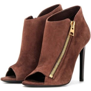 Brown Stiletto Boots Suede Peep Toe Heeled Ankle Booties