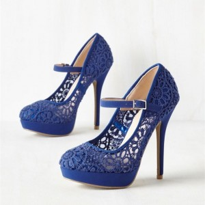 Women's Blue Mary Jane Round Toe Stiletto Heels Bridal Shoes