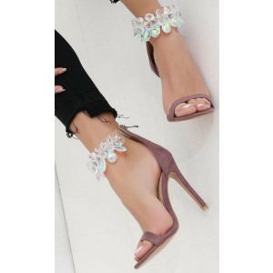 Women's Maroon Open Toe Stiletto Heel Rhinestone Ankle Strap Sandals