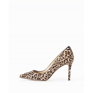 Leopard Print Heels Suede Pointy Toe Stiletto Heels Pumps for Women