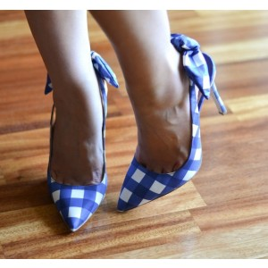 Blue And White Slingback Pumps Pointed Toe Stiletto Heels With Bows