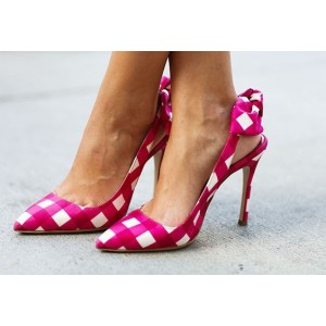 Women's Red And White Mosaic Stiletto Heel Slingback Pumps