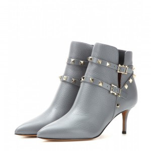 Women's Grey Fashion Boots Kitten Heels Rivet Buckle Ankle Boots