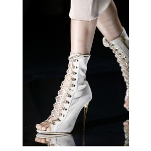 Ivory Lace up Boots Suede Mid Calf Boots for Women