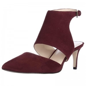 Women's Maroon Dress Shoes Suede Buckle Slingback Sandals