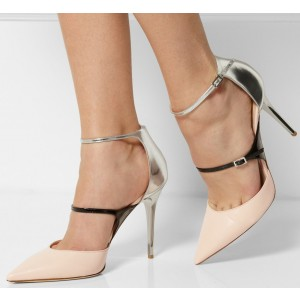 Women's Pink Elegant Ankle Strap Sandals Pump Heels