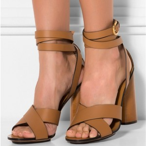 Women's Khaki Ankle Strap Sandals Chunky Open Toe Heels