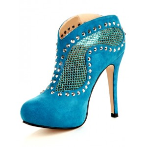 Cobalt Blue Shoes Suede Fishnet Ankle Boots Platform Studded Shoes