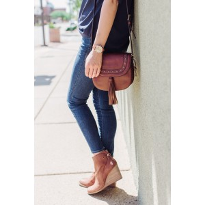 Tan Wedge Booties Vintage Closed Toe Wedges for Women