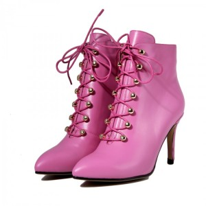 Women's Rose Red Lace up Heels Pointed Toe Ankle Booties