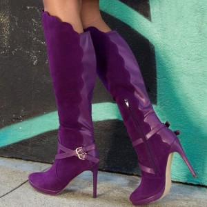 Purple Stiletto Boots Platform Fashion Knee-high Boots for Women