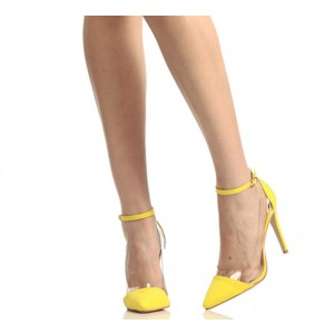 Yellow Ankle Strap Sandals Pointy Toe Clear Stiletto Heel Pumps