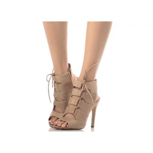 Khaki Lace up Sandals Suede Slingback Stiletto Heel Sandals
