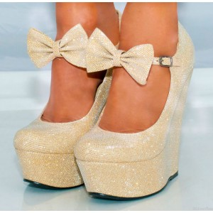Champagne Closed Toe Wedges Sparkly Platform Pumps for Prom