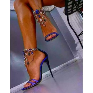 Women's Purple Ankle Strap Sandals Rhinestone Stiletto Heels