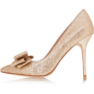 Women's Champagne Gold Sparkly Heels With Bow