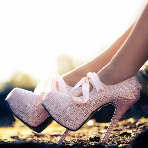 Women's Pink Strass Wedding Heels Stiletto Pumps for Bride