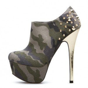 Women's Army Green Rivet 4 Inch Heels Platform Stiletto Pumps