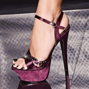 Women's Aubergine Sequined Ankle Strap Sandals Platform Stiletto Heels