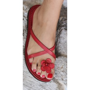 Red Cute Sandals Open Toe Flower Beach Flats