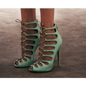 Women's Green Lace Up Sandals Stiletto Heel Pumps