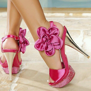 Hot Pink Prom Shoes Satin Platform Flower Sandals for Party