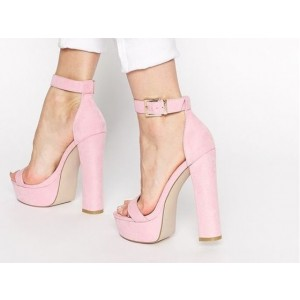 Pink Ankle Strap Sandals Open Toe Chunky Heels Summer Sandals