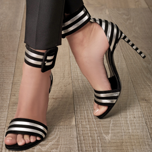 Women's Black and White Stripe Open Toe Ankle Strap Sandals