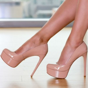 Women's Blush Stiletto Heels Almond Toe Platform Commuting Pumps