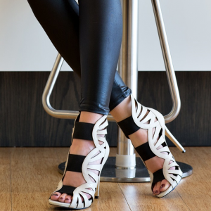 Women's White Gladiator Sandals Peep Toe Stiletto Heels