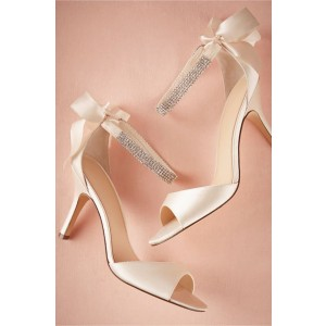 Champagne Ankle Strap Bow Peep Toe Stiletto Heels Bridal Sandals