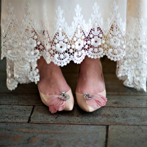 Women's Nude Rhinestone Flower Wedding Flats