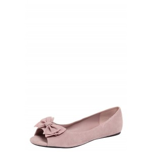 Women's Blush Suede Bow Wedding Flats